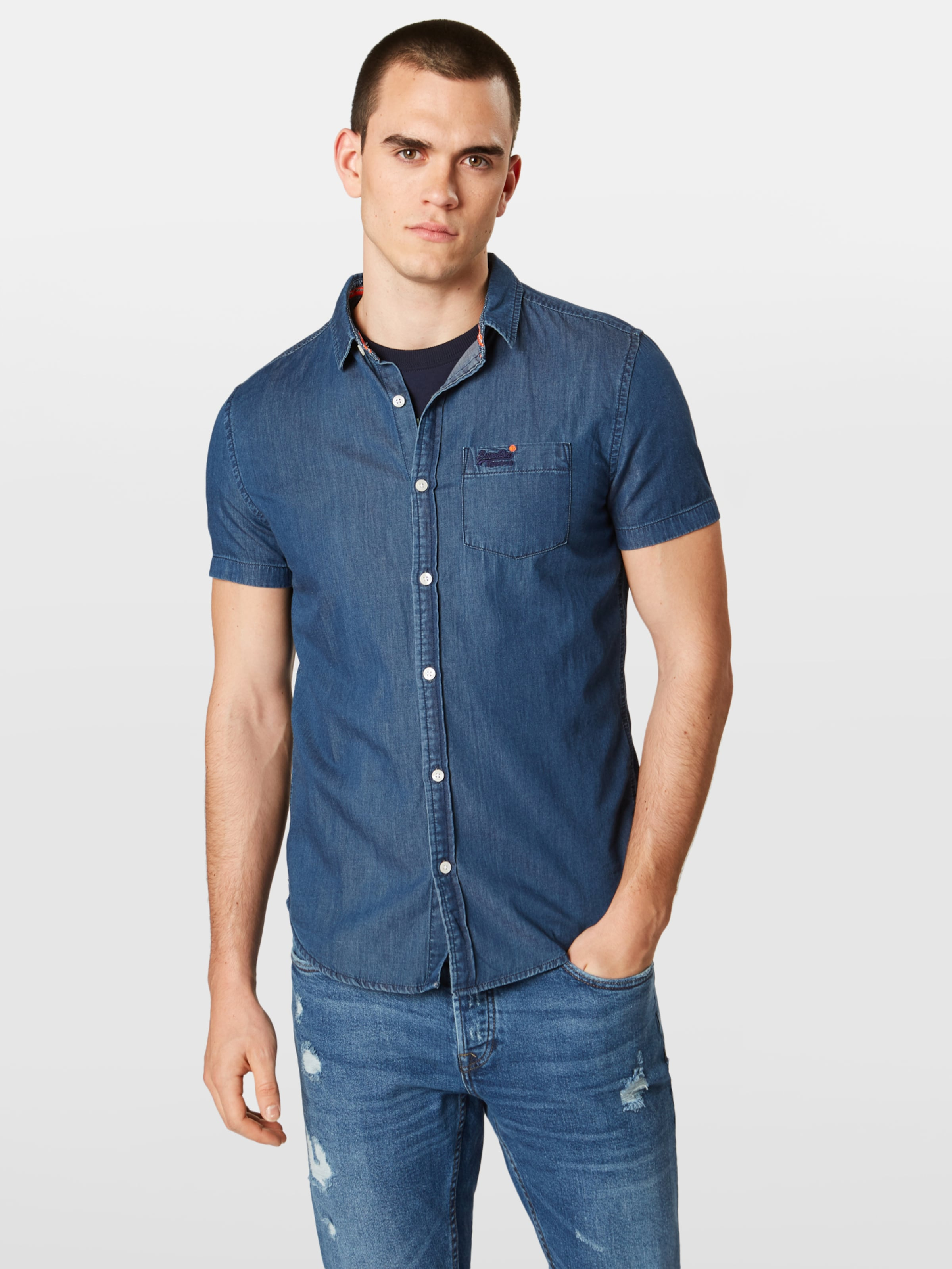 In Superdry Denim Hemd 'miami Loom' Blue HD2E9eIYW