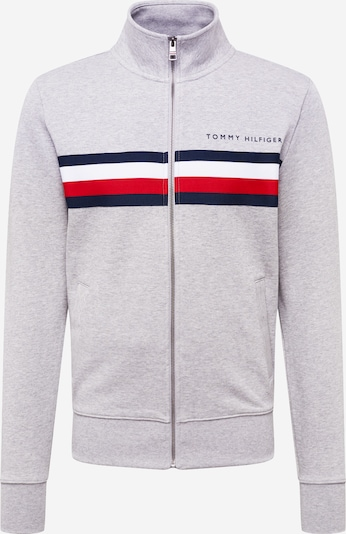 TOMMY HILFIGER Veste de survêtement en bleu marine / gris chiné / rouge / blanc, Vue avec produit