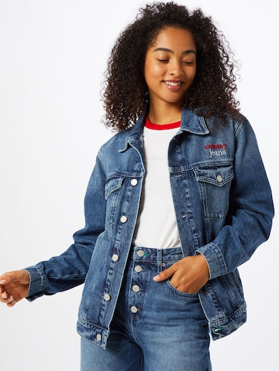 Tommy Jeans Kevad-sügisjope 'Trucker' sinine denim / punane / valge, Modellivaade