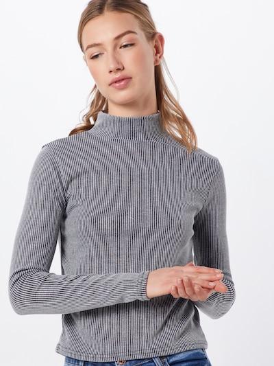 Missguided Shirt 'STRIPE GROWN ON NECK TOP' in de kleur Donkergrijs: Vooraanzicht