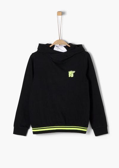 s.Oliver Sweatshirt in neongelb / schwarz / weiß, Produktansicht