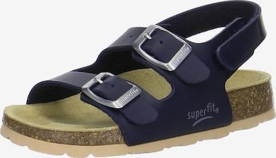 SUPERFIT Pantoletten für Jungen in hellbeige / navy, Produktansicht