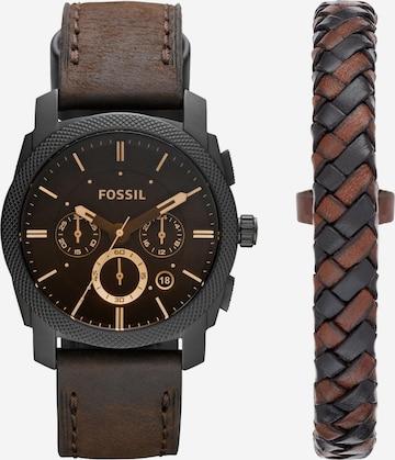 FOSSIL Analog Watch 'Machine, FS5251SET' in Brown