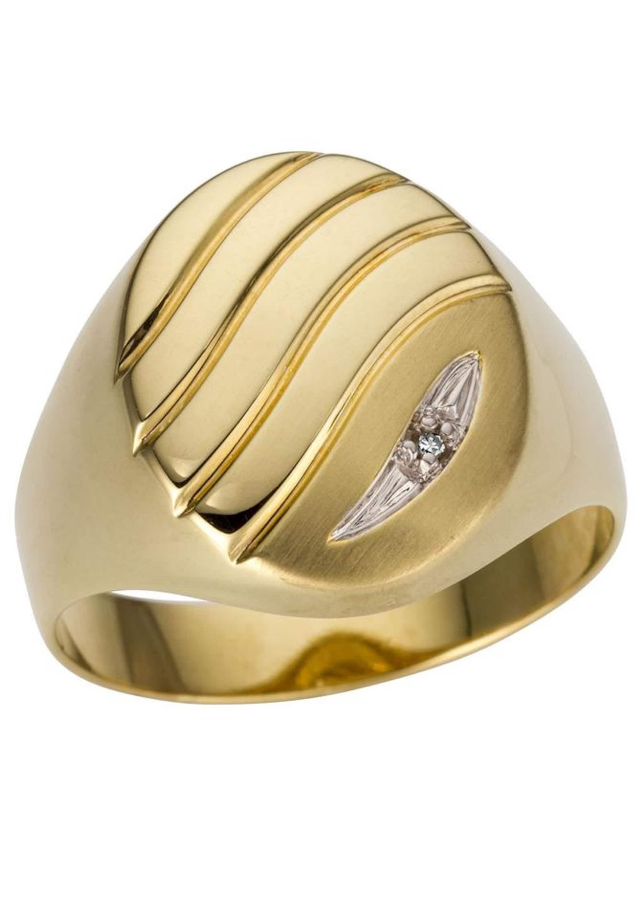 Rillen' 'glanzMattRingkopf GoldSilber Goldring Mit In Firetti m0wOvnN8