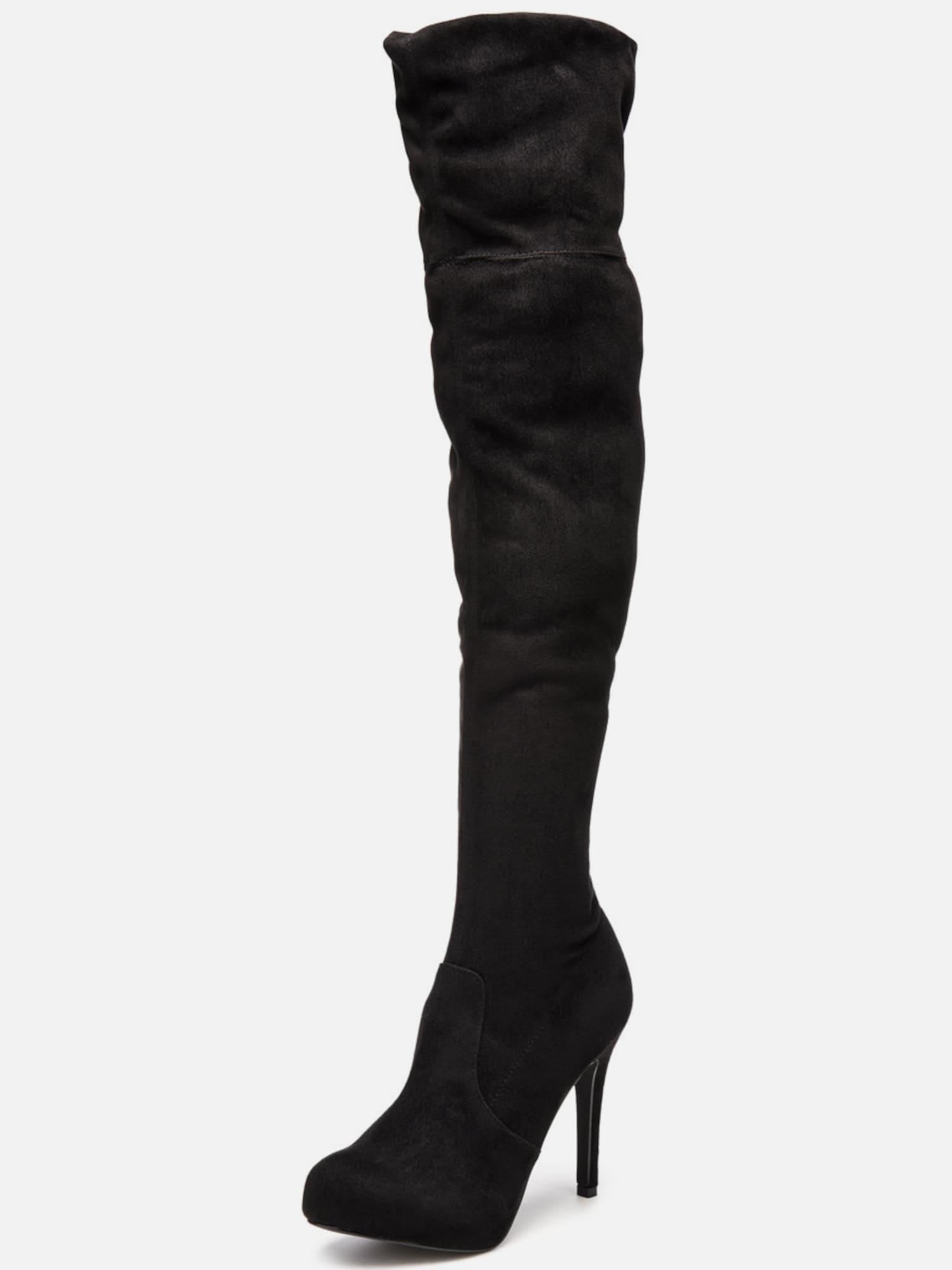 bianco stretch overknee stiefel in schwarz about you. Black Bedroom Furniture Sets. Home Design Ideas