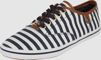 TOM TAILOR Sneakers laag 'Stripe' in Navy / Wit