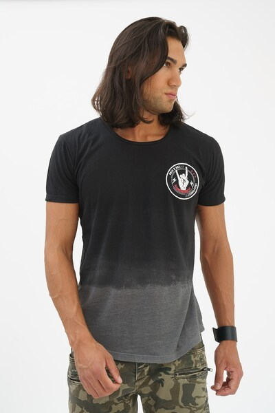 trueprodigy T-Shirt in grau / schwarz: Frontalansicht