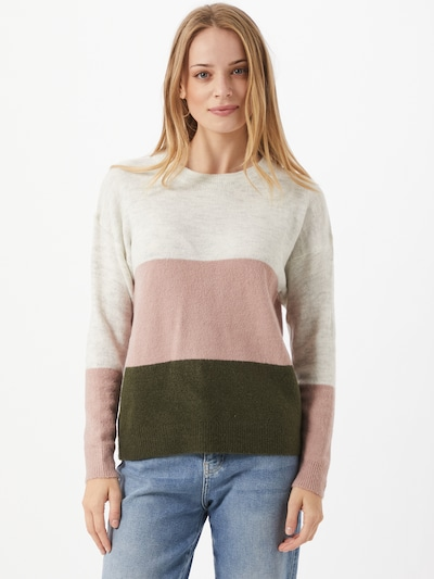 JACQUELINE de YONG Pullover 'ELANORA' in hellgrau / dunkelgrün / rosa, Modelansicht