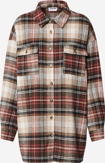 Noisy may Hemd  'NMFLANNY L/S CHECK LONG SHACKET' in braun / rot / orangerot / weiß, Produktansicht