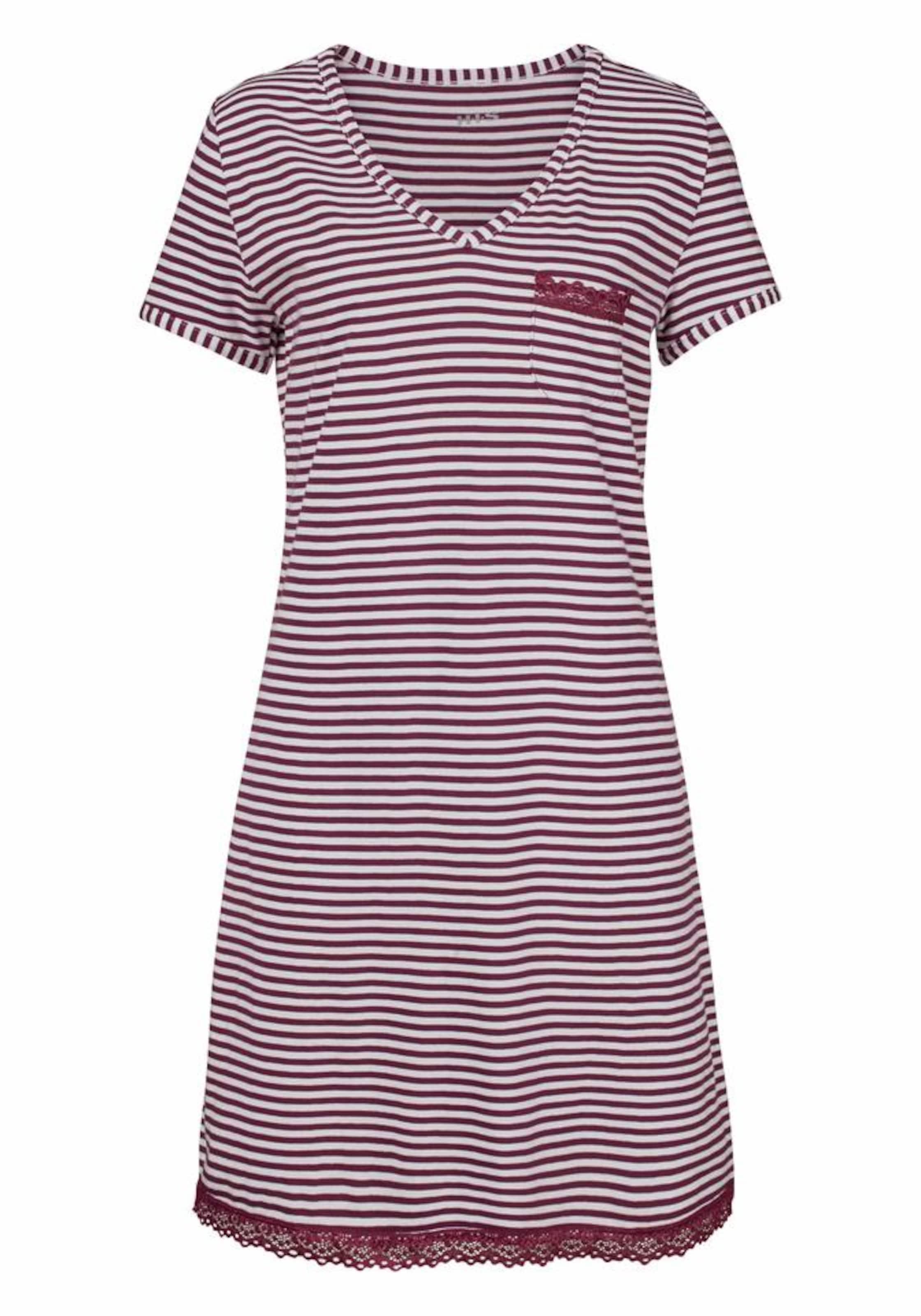 Nachthemd Mit BordeauxWeiß Geringeltes s Spitzendetails H i In rdCBoeWQx