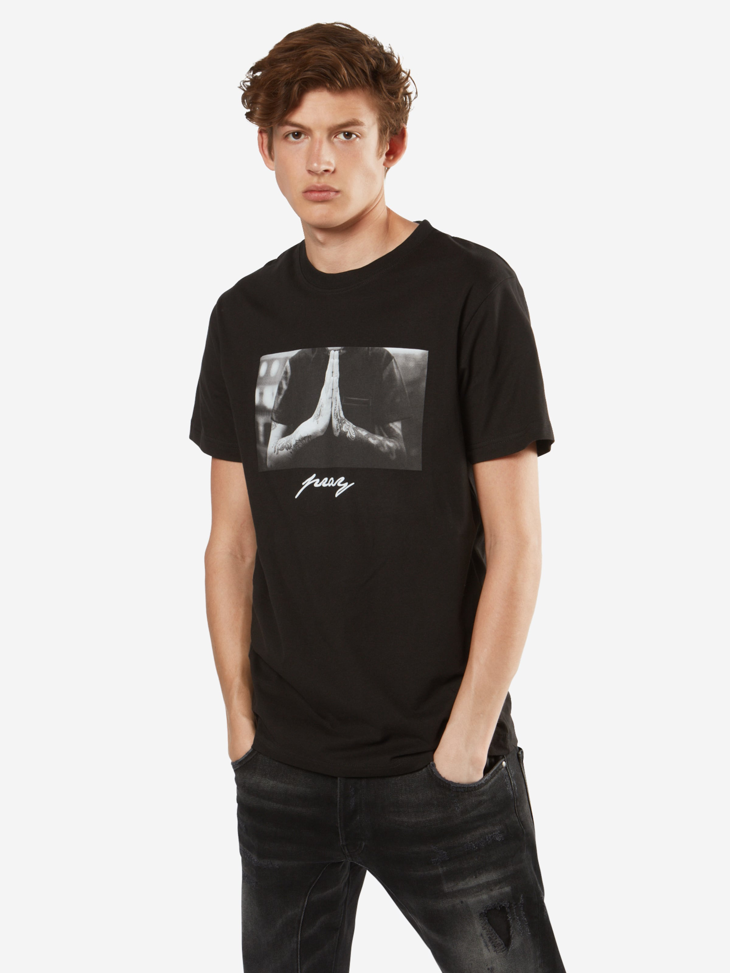 In shirt 'pray' Tee Mister GrauSchwarz T W2IY9EHD