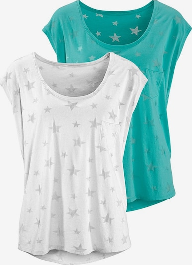 BEACH TIME Shirt in de kleur Turquoise / Wit, Productweergave