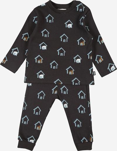 Sanetta Pure Pyjama in hellblau / braun / anthrazit / weiß, Produktansicht
