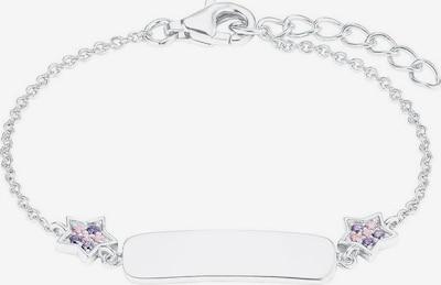 PRINZESSIN LILLIFEE Armband 'Plakette mit Sternen' in helllila / hellpink / silber, Produktansicht