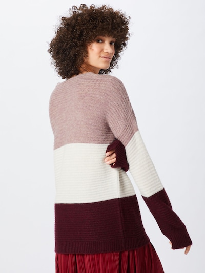 ABOUT YOU Pullover 'Larissa' in creme / rosa / bordeaux: Rückansicht