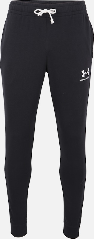 UNDER ARMOUR Sportbroek 'SPORTSTYLE TERRY JOGGER' in de kleur Zwart / Wit, Productweergave