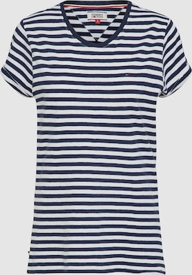 Tommy Jeans Shirt 'LINEN BLEND STRIPE TEE' in Nachtblauw / Wit