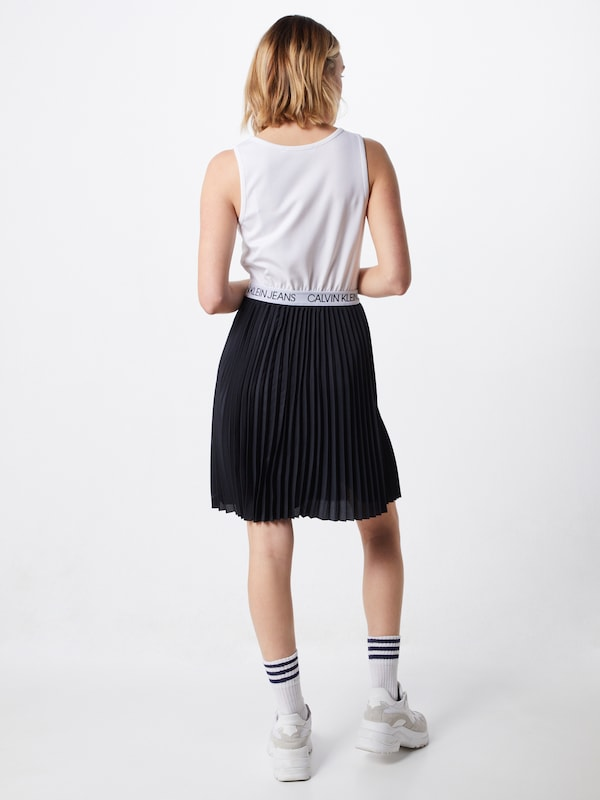 Calvin Klein Jeans Kleid 'LOGO ELASTIC PLEATED' in schwarz ...