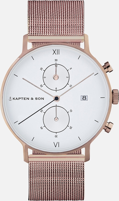 Kapten & Son Uhr 'Small Chrono Mesh' in bronze, Produktansicht
