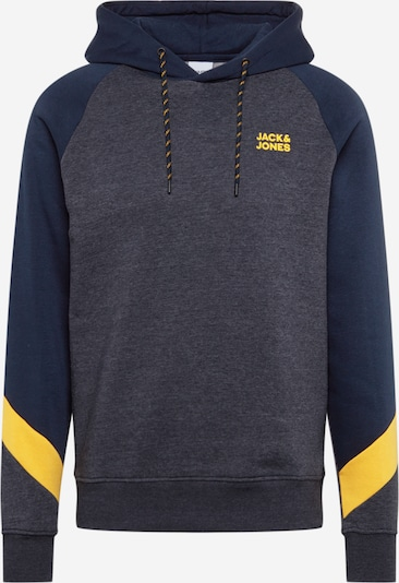 JACK & JONES Sweat-shirt 'POUL' en bleu marine / bleu-gris / jaune: Vue de face
