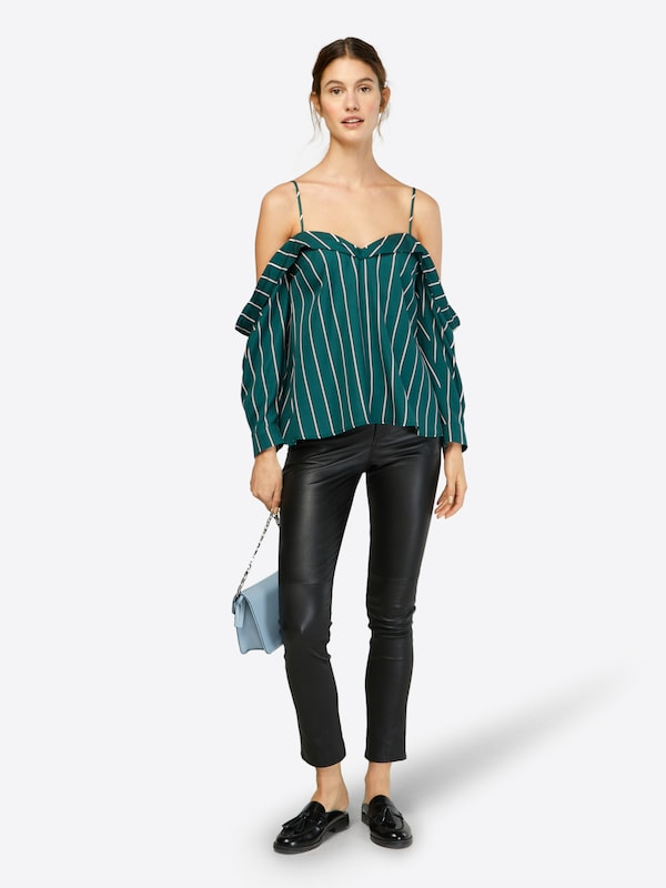 Bardot Blause 'Paloma' in dunkelgrün     weiß  Große Preissenkung 33a242