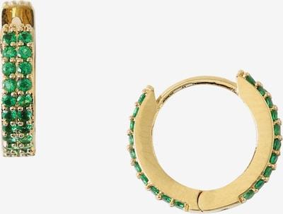 Orelia Náušnice 'Chunky Huggie Hoops' - zlatá / zelená, Produkt