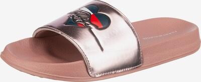 TOMMY HILFIGER Badelatschen mit Metallic-Look in altrosa / silber, Produktansicht