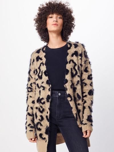 Urban Classics Strickjacke 'Ladies Leo Cardigan' in beige / schwarz, Modelansicht
