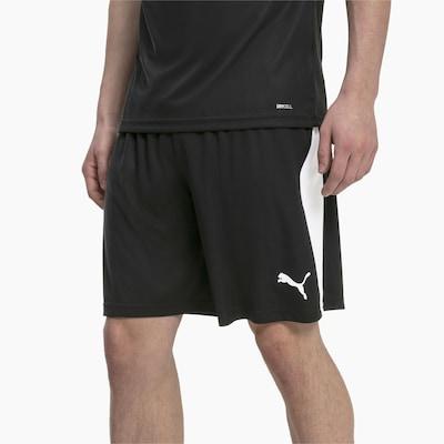 PUMA Sport-Shorts 'LIGA' in schwarz / weiß: Frontalansicht