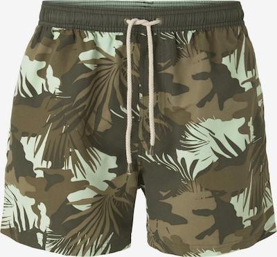 TOM TAILOR Shorts de bain en noisette / kaki / menthe / vert foncé, Vue avec produit