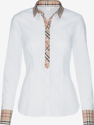 SEIDENSTICKER Bluse in dunkelbeige / rot / schwarz / weiß, Produktansicht