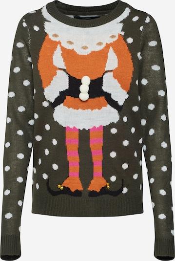 VERO MODA Pullover in khaki / dunkelorange / dunkelpink / weiß, Produktansicht