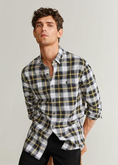 MANGO MAN Overhemd 'power' in de kleur Crème / Geel / Zwart: Vooraanzicht