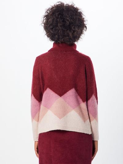 ONLY Pulover 'DAIMI' | bež / roza / vinsko rdeča barva: Pogled od zadnje strani