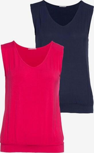 Top LASCANA pe albastru noapte / roz neon: Privire frontală
