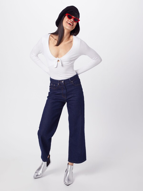 Missguided T shirt Tie En Blanc Bodysuit' Front 'ribbed WHYID92Ee