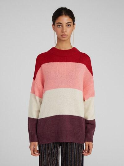 Pulover 'Ulani' EDITED pe mov închis / roz / roşu închis / alb, Vizualizare model