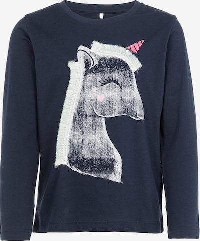 NAME IT Shirt 'Nmfnalima LS top box' in nachtblau / hellpink / dunkelpink / weiß, Produktansicht