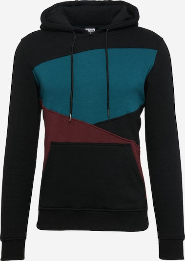 Urban Classics Sweatshirt 'Zig Zag Hoody' in petrol / kirschrot / schwarz, Produktansicht