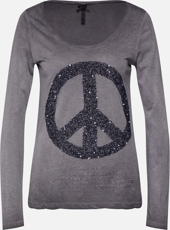 Key Largo Shirt 'PEACE' in anthrazit / silber, Produktansicht