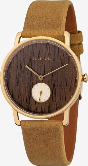 Kerbholz Armbanduhr 'Frida' in ocker / gold, Produktansicht