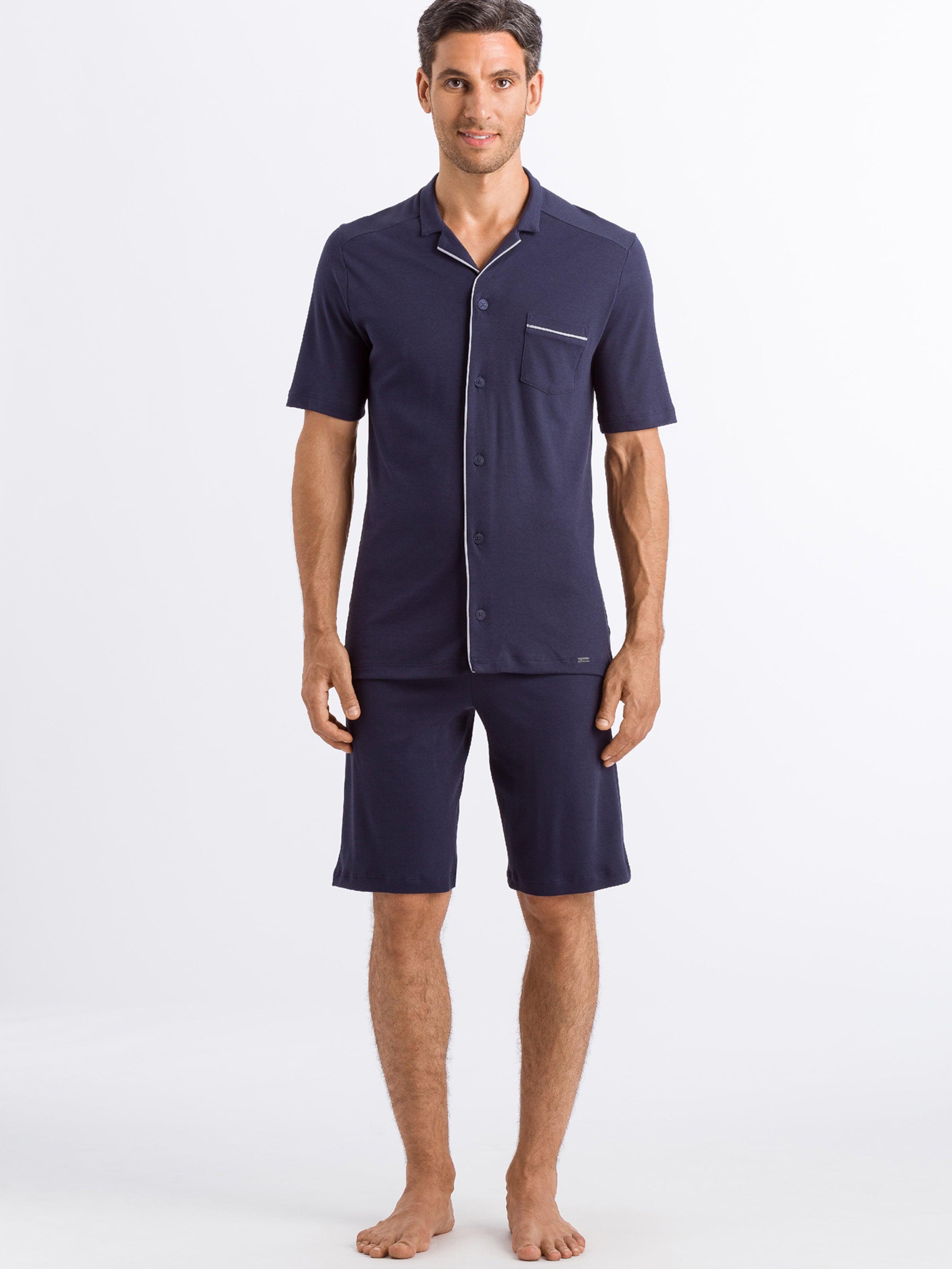 Hanro Kurzer Pyjama ' Day & Night ' in rauchblau / hellgrau Baumwolle 45381