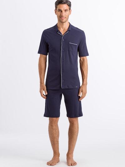 Hanro Kurzer Pyjama ' Day & Night ' in rauchblau / hellgrau, Modelansicht