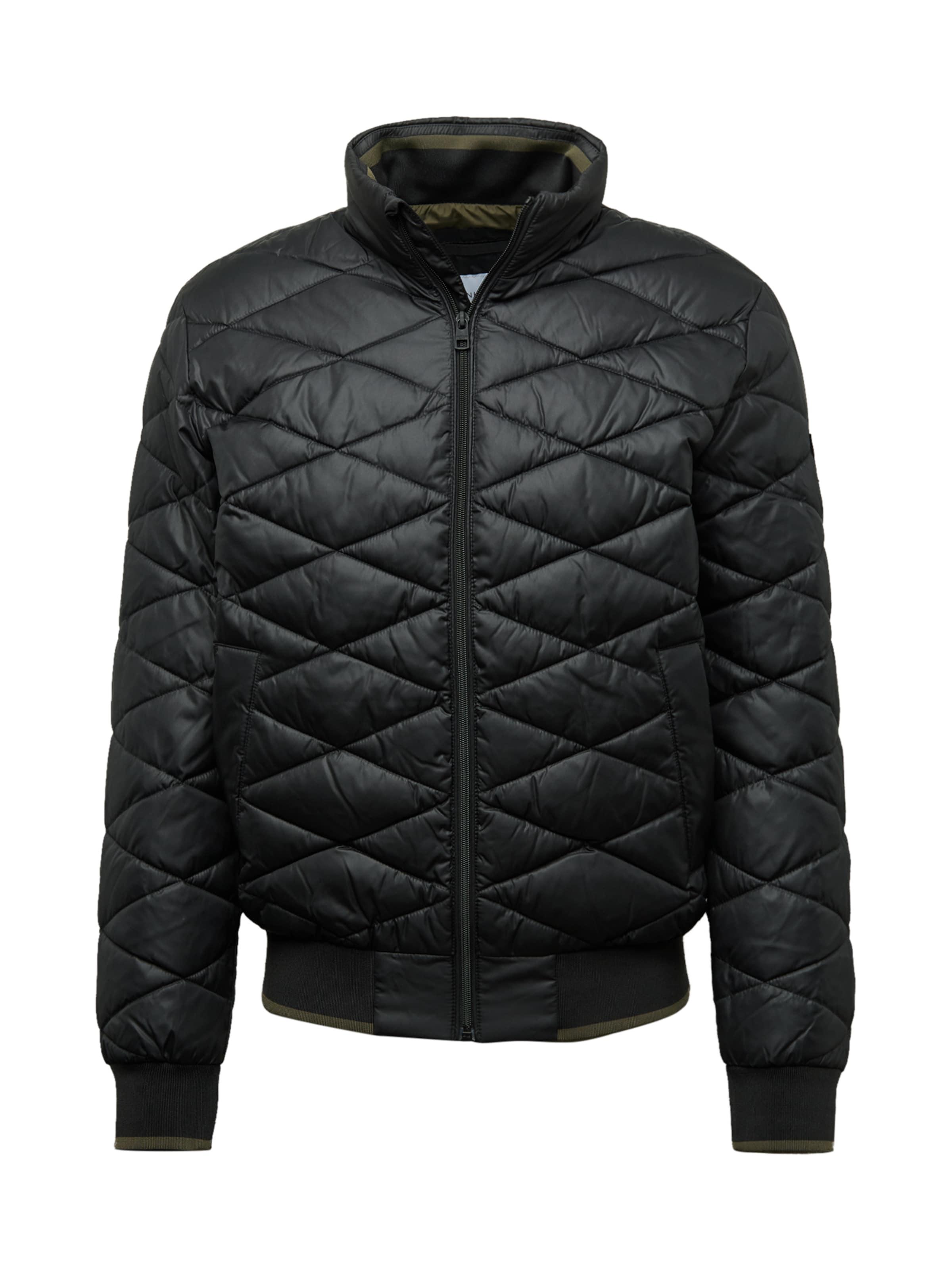 Calvin Stand Schwarz Klein Jeans Up Collar Jacket' Jacke In 'uilted wvmnONy80