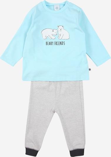 SANETTA Pyjama in türkis / dunkelgrau / weiß, Produktansicht