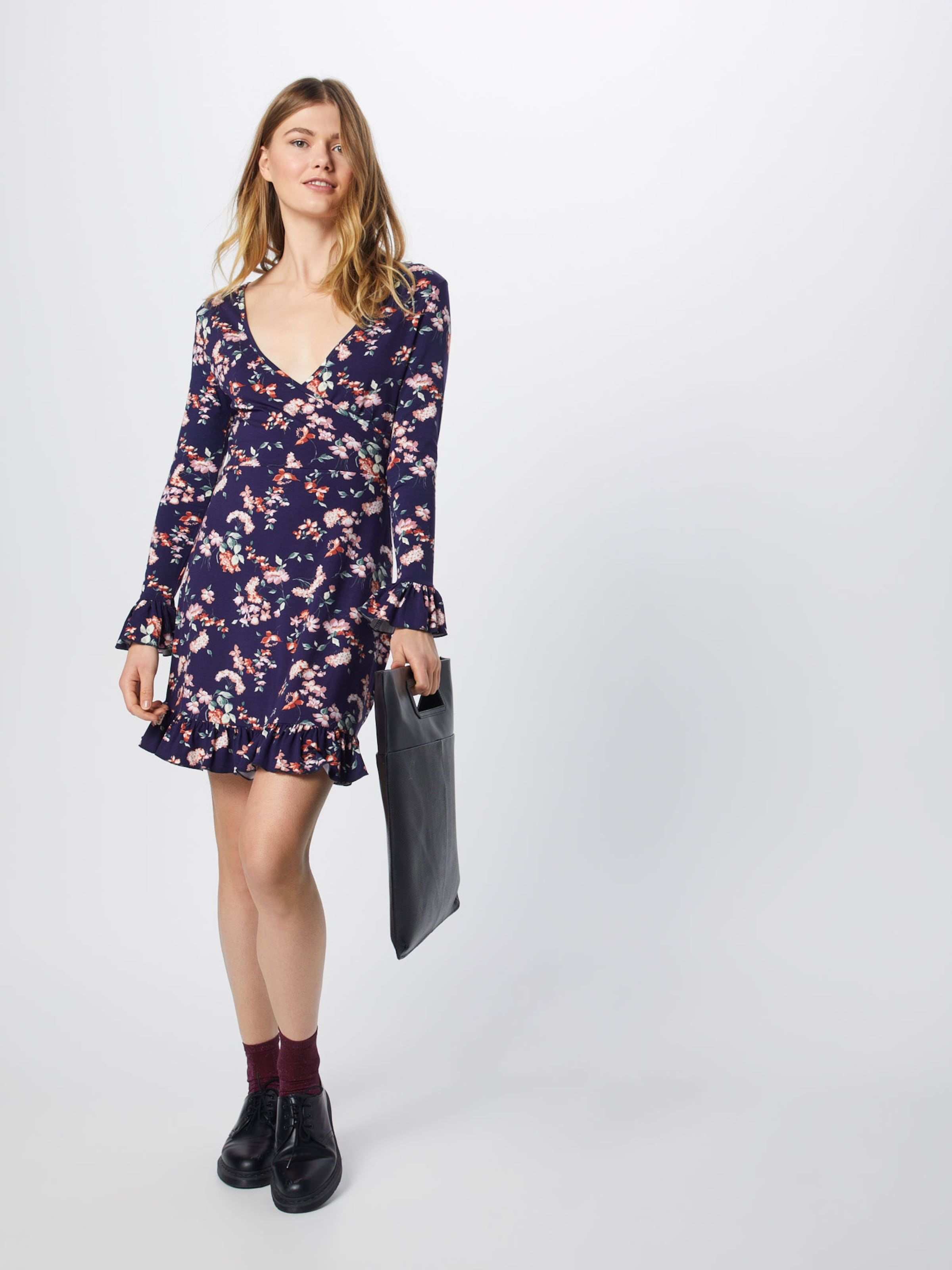 In Dress' Kleid 'floral Missguided Front NavyRosa Wrap wXZilPTOku