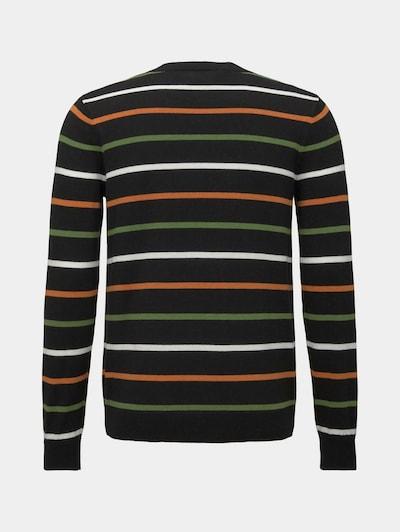 TOM TAILOR Pullover in grün / orange / schwarz / weiß, Produktansicht