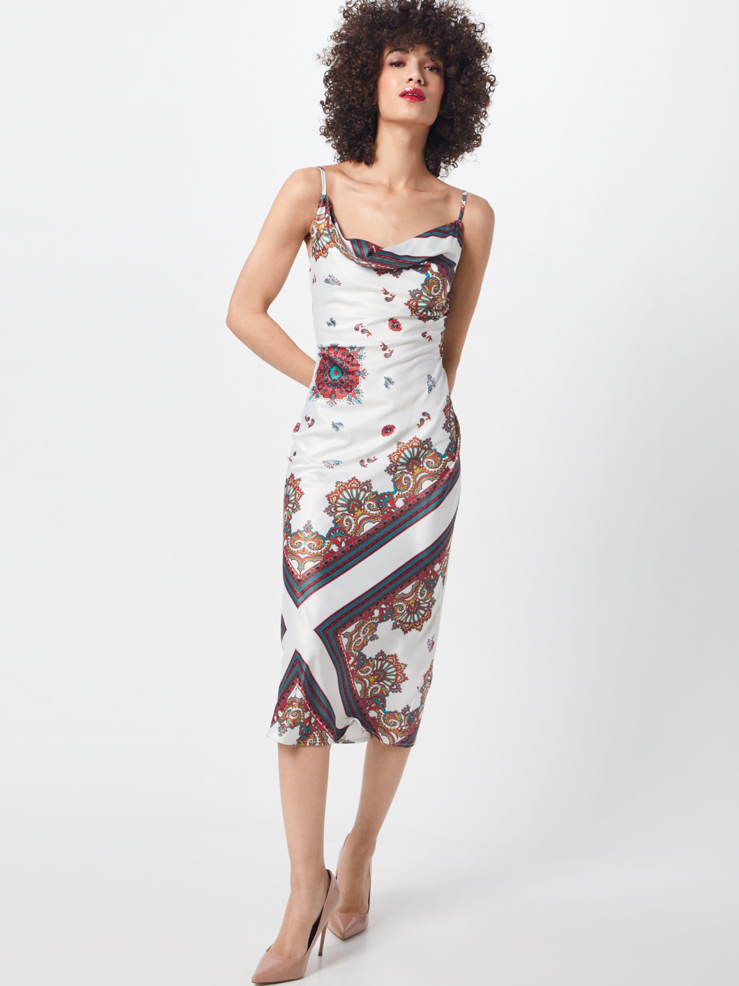 Cowl Missguided Scarf White' Print Neck Dress BraunWeiß 'satin In Kleid srBtCxhdQ