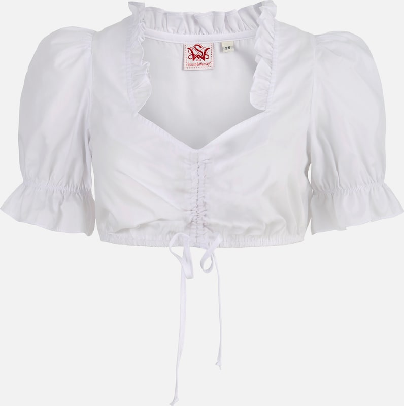 Spieth & Wensky Dames Dirndl-blouse tout Avec Col Ébouriffé