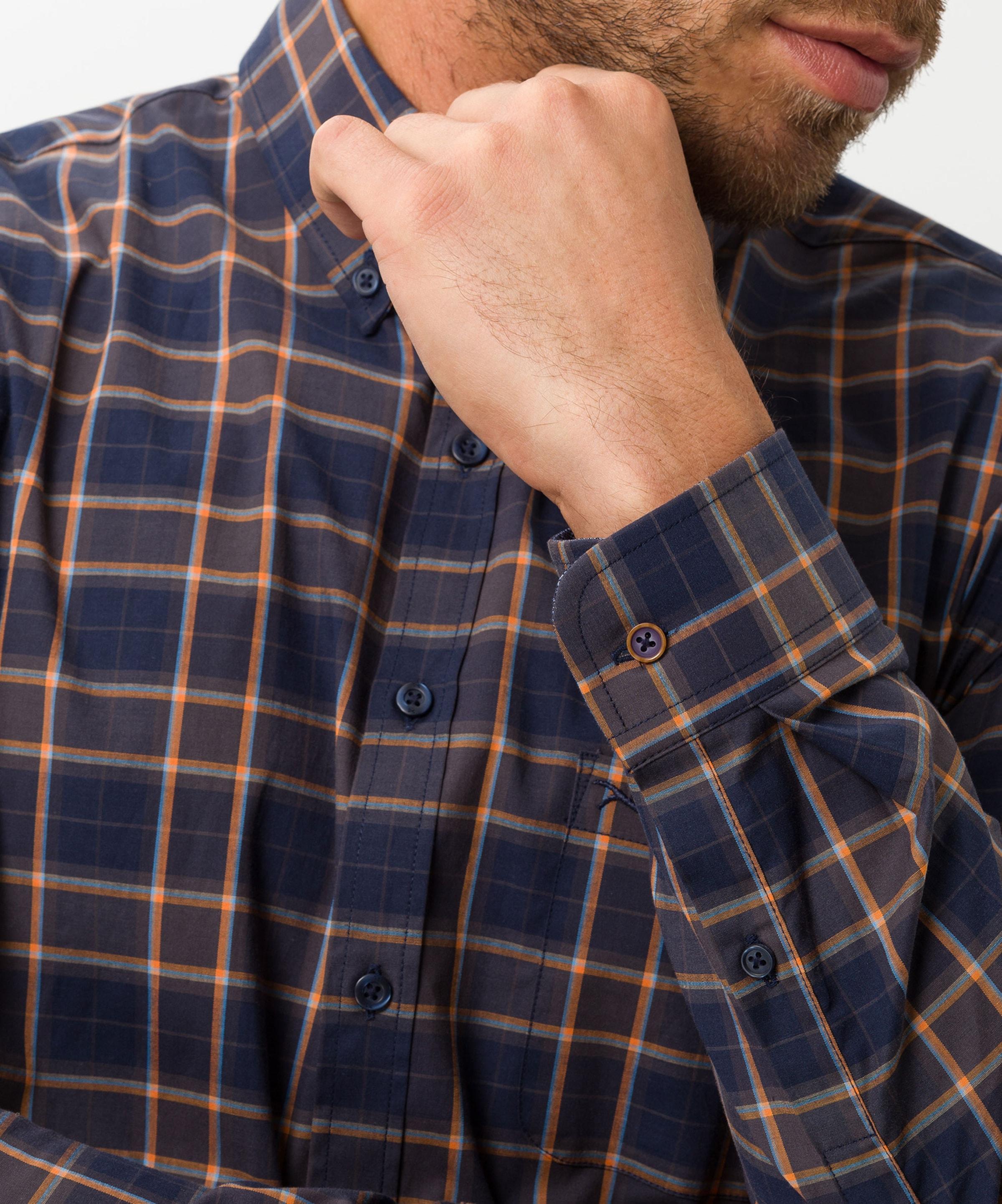 BRAX Skjorta 'Daniel' i marinblå / ljusblå / orange